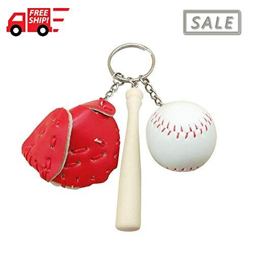 Baseball Glove and Bat Model Keychain Mini Novelty Handbag Car Lover Sport -Red For Sale