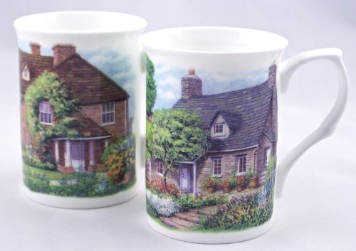 (Fine Bone China Mugs - Set of Two - English Country Cottages - England)
