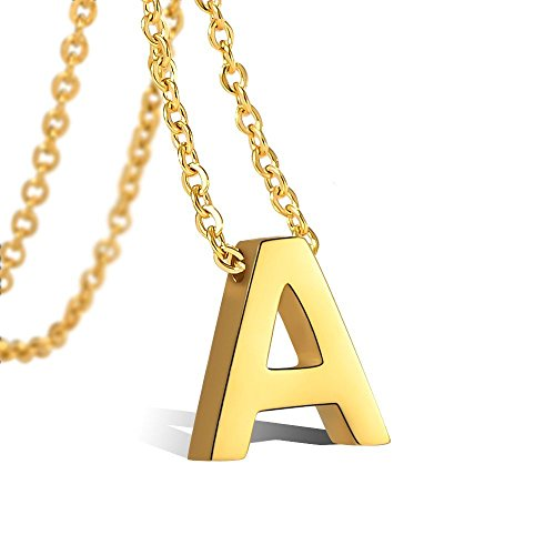 (Tarsus A Initial Letter Necklaces for Girls Women Gold Personalized Tiny Stainless Steel Little Girls )