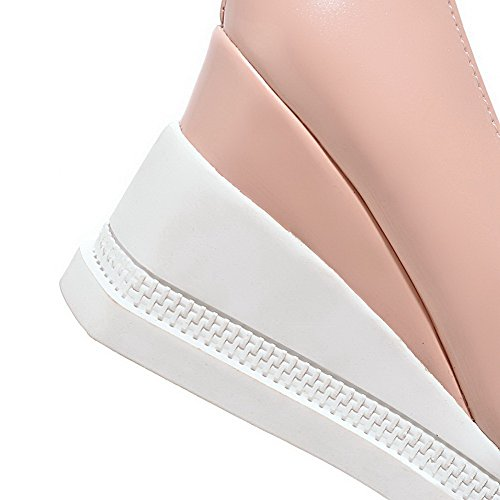on Women's Round Closed Pull Pumps Toe Solid Heels Shoes High Patent Pink Leather WeiPoot zdtwn8ggq