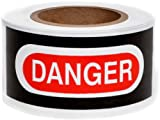 Presco B3102W2879-658 1000' Length x 3'' Width x 2 mil Thick, Polyethylene, White with Red and Black Ink Barricade Tape, Legend ''Danger Lead Hazard Work Area Keep Out No Smoking, Eating'' (Pack of 8)