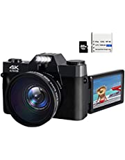 48MP 4K HD Digital Camera Vlogging Camera with 3.0 inch 180° Flip Screen WiFi Digital Camcorder for YouTube with Wide-Angle Lens and 32GB Memory Card