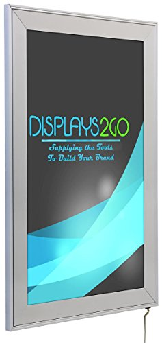 Displays2go LED Light Box Sign Frame, 11 x 17 Inches, Wall Mounted, Silver Aluminum and PVC (SLEDF117S) (Illuminated Poster Case)
