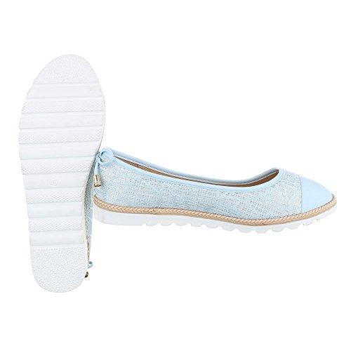 Ital-Design Slipper Damenschuhe Slipper Slipper Halbschuhe Hellblau 6290-P