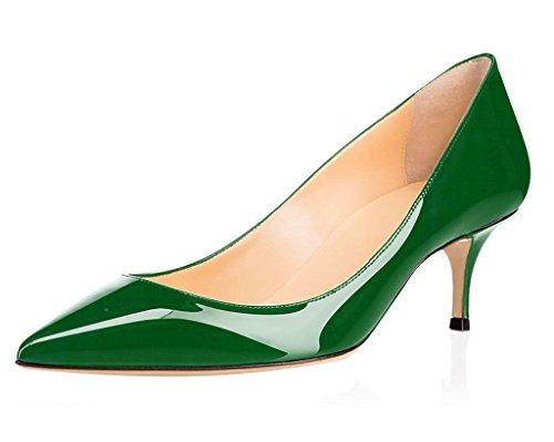 6 1 Scarpe Gattino Tacco Scarpe Donna ELASHE da col Verde tacco Classiche 5CM Scarpe wt1Z7q