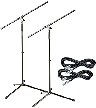 2 Pack Musician's Gear Tripod Mic Stand with 20 Foot Mic Cable