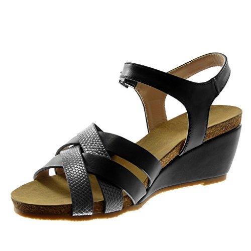 Too Fast Brand - Sandalias de vestir de tela para mujer, color negro, talla 40