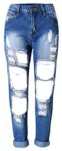 Stretch Elástico Normal Mujeres Pantalón Agujeros Modernas Las Pantalones Mezclilla Jane Denim Color2 Casual Cintura De Alta Vaqueros wICqCE6Zx