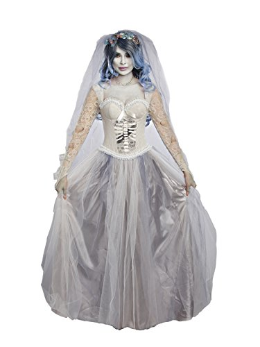 Zombie Costumes For Couples (Dreamgirl Women's Dying to Marry, Grey, XL)