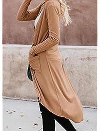 Abrigo largo para mujer de manga larga con botones y dobladillo alto y bajo, con bolsillos