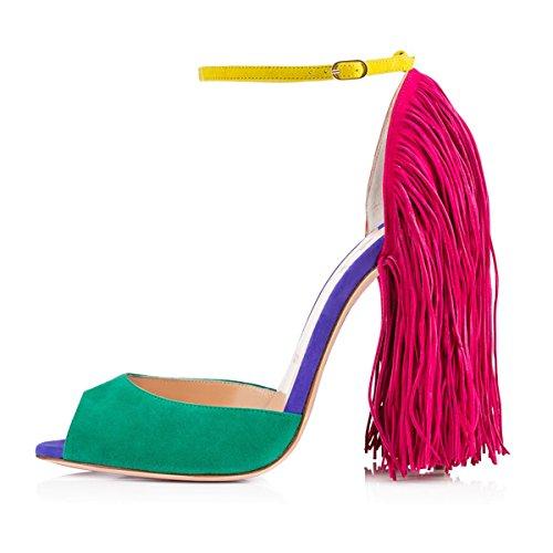 Peep mit Pumps Fransen Sandalen Knöchelriemchen Damen Stiletto Mehrfarbig High Heels Toe FdOwxq