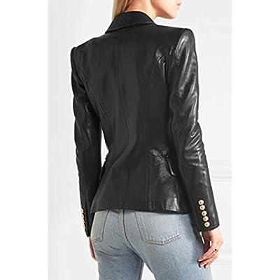 Leather Hubb Women's Black Kim Kardashian Leather Blazer/Coat/Jacket for Ladies at Women's Coats Shop
