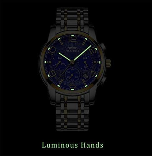 Montres Hommes, Mode Sport Quartz Montre-Bracelet Date Calendrier Classique Design Lumineux Homm Décontractée Chronographe,Goldblack