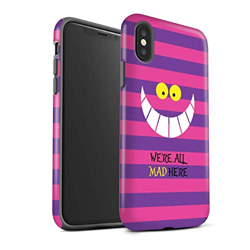 STUFF4 Matte Tough Shock Proof Phone Case for Apple iPhone Xs Max/Cheshire Cat/Mad Here Design/Fantasy Wonderland Art Collection