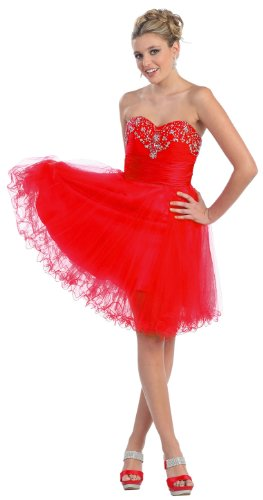 US Fairytailes Strapless Beaded Cocktail Formal Prom Dress #2700
