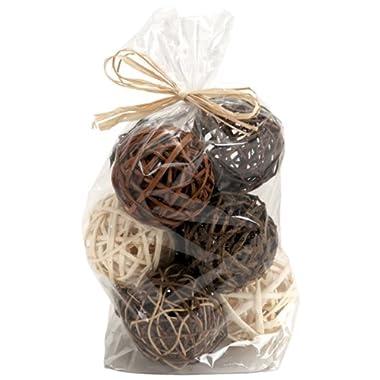 Bag of Brown Natural Wicker 4  dia Twig Orbs Balls - Bag of 9