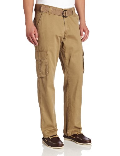 Pants Cargo Dress (Lee Men's Relaxed Fit Utility Belted Cargo Pants, Barley, 42W x 30L)