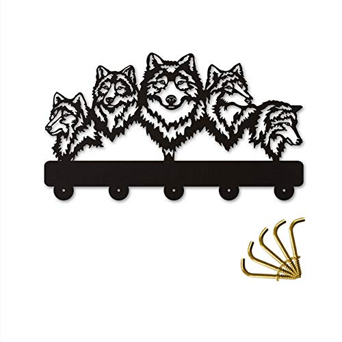 ANMY Wildlife Wolf Decorative Wooden Wall Hanger Wolf Family Clothes Wall Hooks Coat Rack Keys Holder Organizer Hook,Black