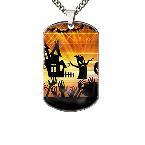 PANQJN Halloween Ghost Pet Necklace ID Tag Dog and Cat Personalized |Many Pattern to Choose from! -