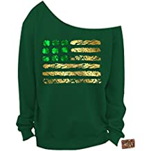 Vintage Fly Ladies St Patrick's Day Irish American Foil Flag Slouchy Sweatshirt