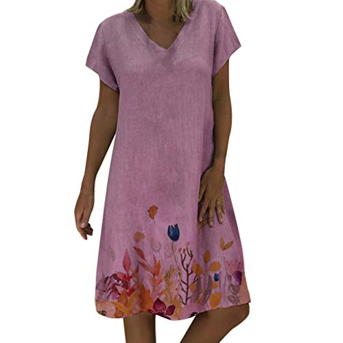 (Goddessvan Women Casual Summer Floral Print Dress V-Neck Short Sleeve T-Shirt Dress Mini Dress Pink)