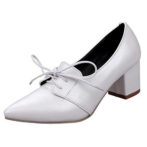 Pumps RAZAMAZA Mujer Zapatos White Puntiagudo qXaEwCT