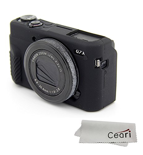 CEARI Silicone Case Rubber Camera Protective Cover Skin for Canon PowerShot G7X Mark II Digital Camera + Microfiber Cloth - Black (Camera Digital Rubber)