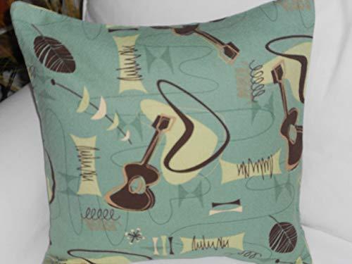 Atomic Hawaiian 100% Cotton Barkcloth Fabric Pillow SLIPCOVER ~Jetson-Sage~