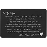 Love You Forever Engraved Metal Men Wallet Mini Insert Love Note Card To My Husband Wife Fiancé Groom Anniversary Birthday Gift