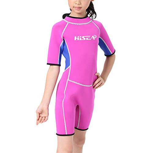 SailBee Womens One Piece Short Sleeves Contoured Zip Front Wetsuit Swimsuit