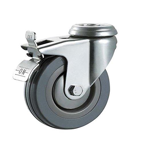 75/mm en caoutchouc Gris non marquant Roulettes avec freins/ /Trou de boulon Fixation Heavy Duty Roulettes Roues par Bulldog Roulettes/ /Max 200/kg par lot