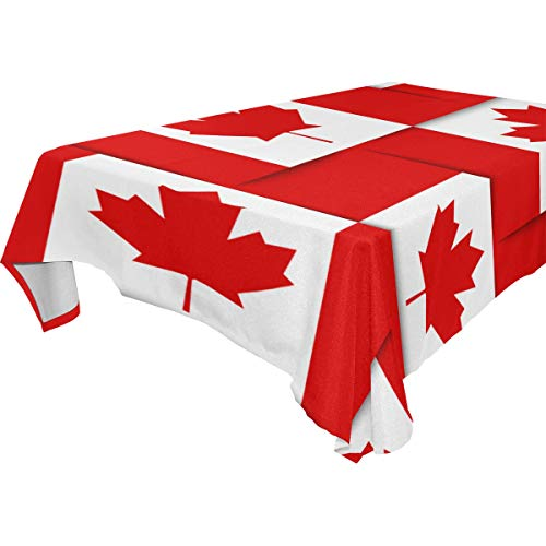 ZOMOY Decor Tablecloth Seamless Pattern Composed Canadian National Flags Multicolor Rectangular Table Cover for Dining Room Kitchen Outdoor Picnic (Canadian Hotels National)