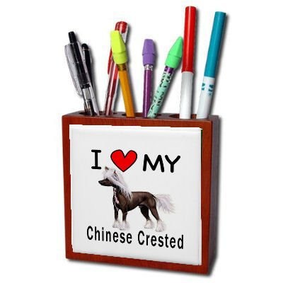 I Love My Chinese Crested Pencil Holder Desk Accessory Chinese Crested Accessories