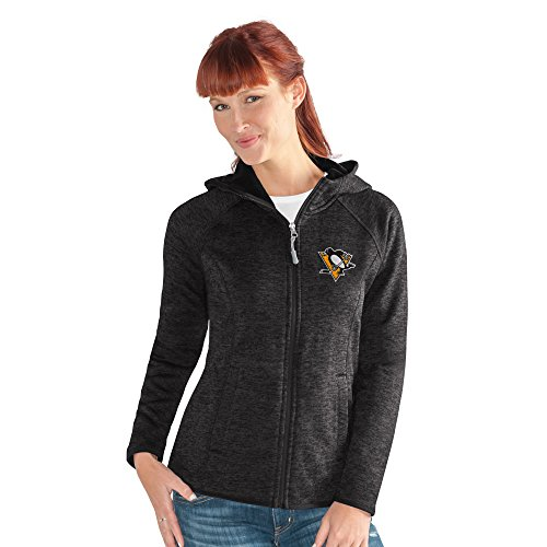 GIII For Her NHL Pittsburgh Penguins Women's Kick Off Full Zip Jacket, Small, Black