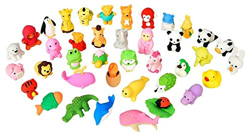 30 PCs Joanna Reid Collectible Set of Adorable Japanese Puzzle Animal Erasers Value Pack - No Duplicates - Puzzle Toys Best for Party Favors