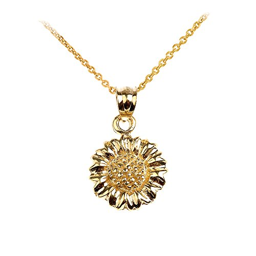 Polished 14k Yellow Gold Sunflower Charm Pendant Necklace, 22