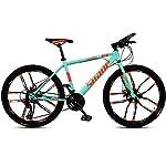 JXH-26-Bici-Pollici-di-Montagna-Doppio-Freno-a-Disco-per-Mountain-Bike-Hardtail-Uomo-Bicicletta-Sedile-Regolabile-ad-Alta-Acciaio-al-Carbonio-Telaio-21-velocit-Bianco-10-RazzeGreen-26in