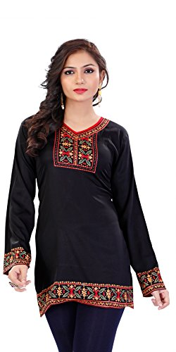 Indian Tunic Top Womens Kurti Printed Blouse India Clothing – Small, T 220