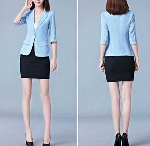 Blazer Ufficio Chic Blau Primaverile Lunga Manica Fashion Camicia Giacca Bavero Reticolo Business Casuale Da Ragazza Eleganti Corto Autunno Cappotto Classiche Tailleur Sottile Donna pnxcWCg4