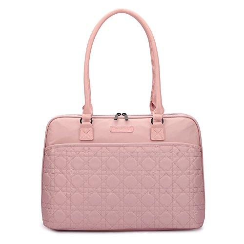 CoolBELL 15.6 Inch Laptop Tote Bag Women Handbag Nylon Briefcase Classic Shoulder Bag for Laptop/Ultra-Book/MacBook/Tablet / (Black) (15.6 Inches, Rose Gold)