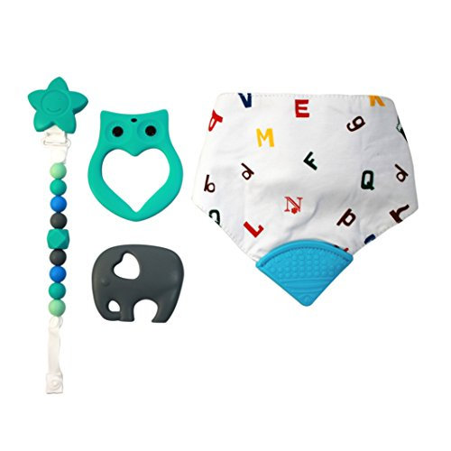 My Little Sweet Pea Baby Boy 4 Piece Teething Relief Set Featuring: 2 Large Silicone Baby Teethers, Beaded Pacifier Clip, & ABC's Bandana (Sweet Pea Infant Bib)