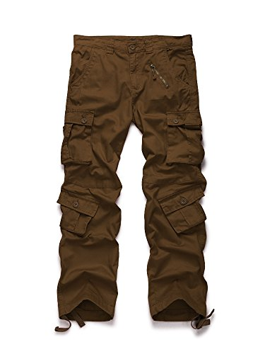 OCHENTA Men's Outdoor 8 Pockets Military Cargo Pant #3357 Coffee - Cargo Camouflage Pants