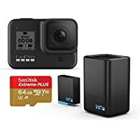 GoPro HERO8 12MP Full HD 1080p Digital Camera + Dual Battery Charger + SanDisk 64GB UHS-I Card