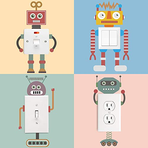 decalmile 4 Pieces Robots Light Switch Stickers Vinyl Wall Switch Decor Decals Art Mural for Baby Nursery Room Kids Bedroom Home Decoration