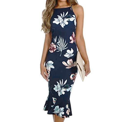 (Women's Off Shouder Floral Printed Blooming Babe Dip Hem Party Evening Bodycon Midi Dress Dark Blue)
