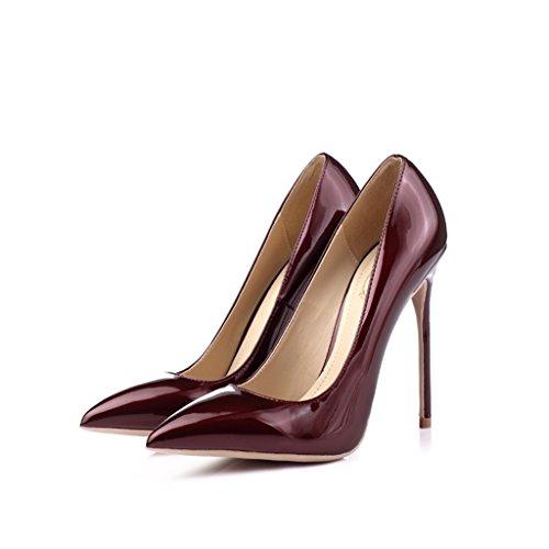Single shoes - female Sexy à talons hauts avec une seule chaussures peu profonde bouche 12cm multicolore banquet mariée chaussures (Couleur : #6, taille : 38-Shoes long240mm) #1