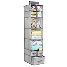 mDesign Fabric Baby Nursery Closet Organizer for Stuffed Animals, Blankets, Diapers - 7 Shelves and 3 Drawers, Gray
