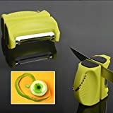 Stainless Steel Peeler Pocket Sharpening Stone Portable Knife Grinder Mini Gadgets for Kitchen Sharpening Tools Fruit Vegetable (Green)