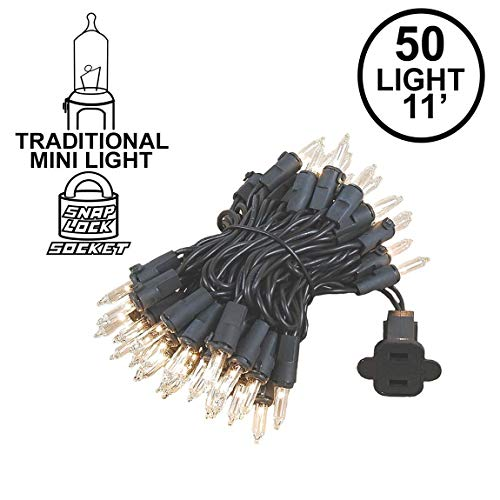 Novelty Lights 50 Light Clear Christmas Mini String Light Set, Black Wire, Indoor/Outdoor UL Listed, 11' Long Black Wire Christmas Lights