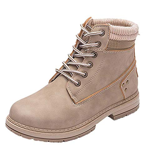 Cenglings Women Winter Boots, Leather Solid Lace Up Boots Ankle Round Toe Faux Warm Shoes Student Snow Boots -
